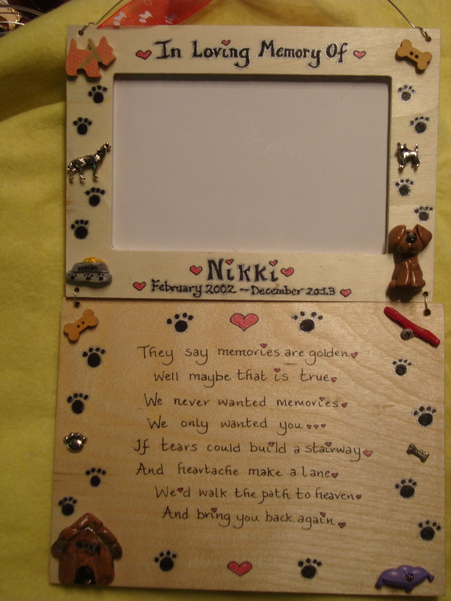 Memorial photo frame in memory of verse poem plaque sign pet memorial photo frame in memory of verse poem plaque sign handmade cat dog rabbit guinea pig jeuxipadfo Gallery